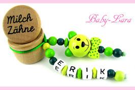 Zahndose mit Namen - Teddy mit Schleife grün 80 - Material nachbestellt, bald wieder verfügbar