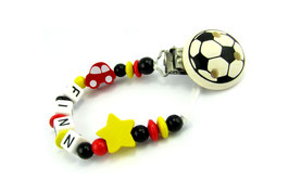 Schnullerkette mit Namen - Deutschland Auto, Stern & Fußballclip EM 005