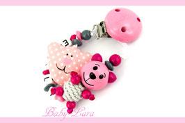 Schnullerkette mit Namen -  Teddy rosa mit Stoffbär rosa 832