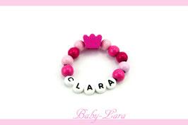 Babyarmband mit Namen - Krone pink/weiß 015