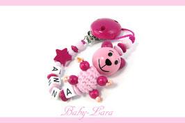 Schnullerkette mit Namen -  Teddy mit Stern rosa 1005