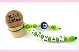Zahndose mit Namen - Nazar Auge grün 96