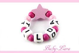 Babyarmband mit Namen - Stern rosa/pink 022