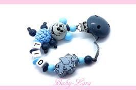 Schnullerkette mit Namen -  Maus mit Elefant blau 1120