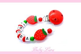 Schnullerkette mit Namen -  Erdbeer-Saison mit zwei Erdbeeren 1112