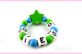 Babyarmband mit Namen - Stern grün/blau 028