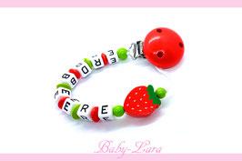 Schnullerkette mit Namen -  Erdbeer-Saison mit einer Erdbeere 1113