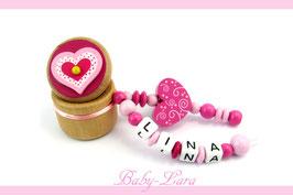 Zahndose mit Namen - Herzdose mit Schnörkelherz pink 124