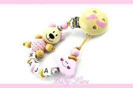 Schnullerkette mit Namen -  Teddy mit rosa Wolke und Motivclip Holz mit rosa Füßen 1090