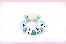 Babyarmband mit Namen - Herz Blau/weiß 036
