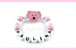 Babyarmband mit Namen - Teddy rosa 043