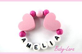 Babyarmband mit Namen - Herzen rosa 023