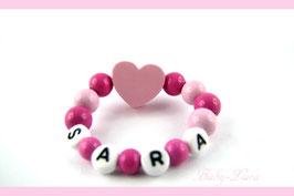 Babyarmband mit Namen - Herz rosa/pink 030