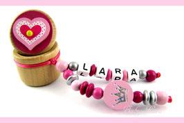 Zahndose mit Namen - Herzdose mit rosa Krone 112