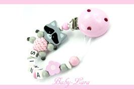 Schnullerkette mit Namen -  Waschbär mit Blume rosa/grau 971