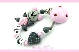 Schnullerkette mit Namen -  Maus mit Herz rosa/grau 1041