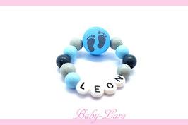 Babyarmband mit Namen - Füsse blau 064