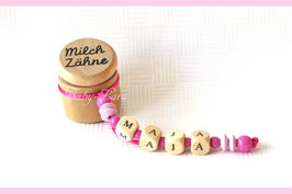 Zahndose mit Namen - Rosa Perlen 120
