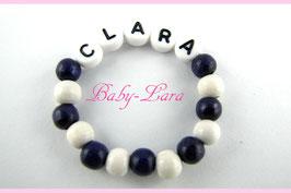Babyarmband mit Namen - Dunkellila/weiß 020