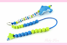 Rechenkette mit Namen - Delfin blau/grün 031