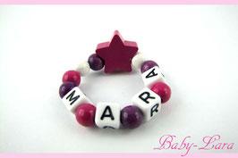 Babyarmband mit Namen - Stern pink 014