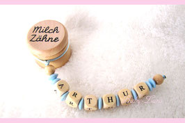Zahndose mit Namen - Hellblaue Linsen 119