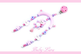 Kinderwagenclip Fuchsteddy lila/rosa 001