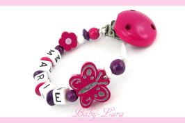 Schnullerkette mit Namen -  Blume & Schmetterling 903