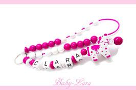Rechenkette mit Namen - Pony rosa pink 067