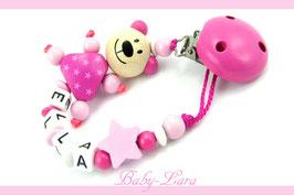 Schnullerkette mit Namen -  Teddy rosa mit Stern 977