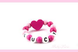 Babyarmband mit Namen - Herz rosa/rot 035