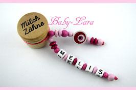 Zahndose mit Namen - Nazar Auge pink 066