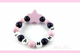 Babyarmband mit Namen - Stern rosa 044