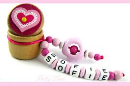 Zahndose mit Namen - Herzdose mit rosa Blume 114
