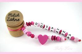 Zahndose mit Namen - Herz rosa rot 110