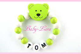 Babyarmband mit Namen - Teddy grün/weiß 021