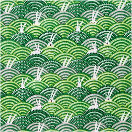 Musselin - Grün, Hasen im Feld