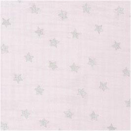 Musselin - Rosa Sterne metallic