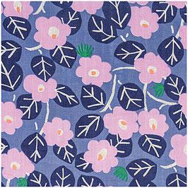 Musselin - Blau, Blumen, Hot Foil