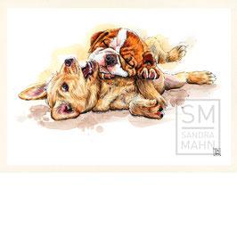 LABRADOR RETRIEVER & ENGLISCHE BULLDOGGE | labrador retriever & bulldog | A4