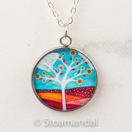 Halskette mit Cabochon-Anhänger - Baum des Lebens