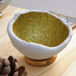 Lichtschale Glitter - gold - Beton weiß