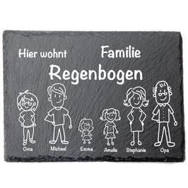 Türschild mit personalisierbarer Gravur - Schiefer - Hier wohnt Familie