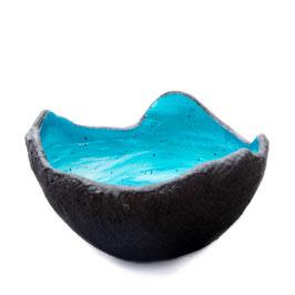 Lichtschale swirly blue lagoon - Beton schwarz - grau
