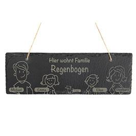 Türschild mit personalisierbarer Gravur Querformat- Schiefer - Hier wohnt Familie