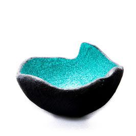 Lichtschale Glitter - smaragd - Beton schwarz - grau