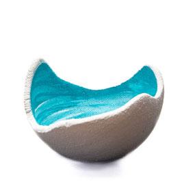 Lichtschale swirly blue lagoon - Beton weiss