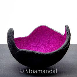 Lichtschale Glitter - pink - Beton schwarz - grau