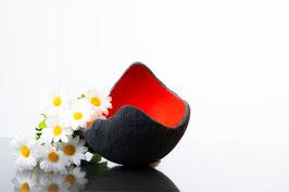 Lichtschale rot - Beton schwarz - grau