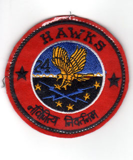 Vintage Indian Air Force No.24 Squadron ´Hawks´ Ops patch MiG-21 period   - obsolete -